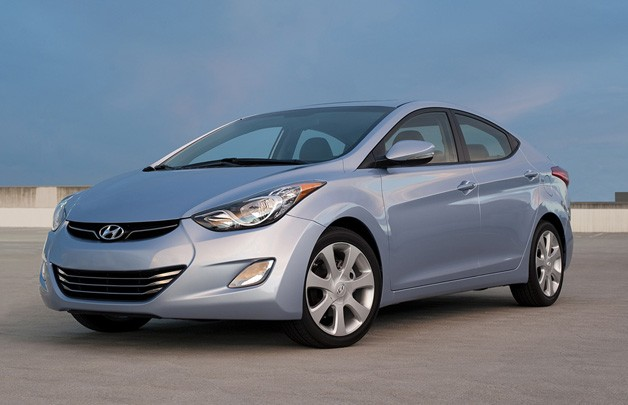 2011 Hyundai Elantra - blue - front three-quarter view