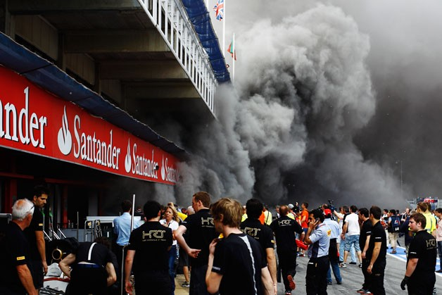 Fire at the Spanish Grand Prix