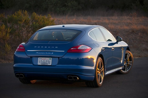 2012 Porsche Panamera Turbo S rear 3/4 view