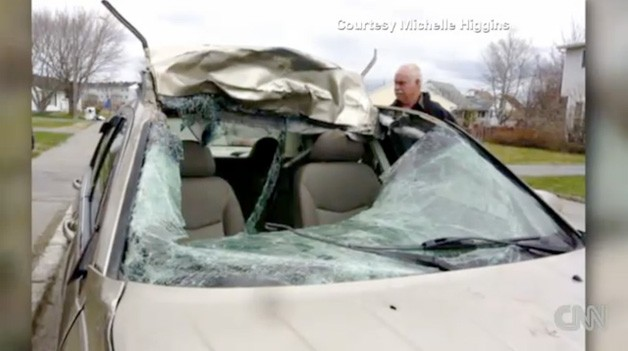 Michelle Higgins' damaged Chrysler Sebring from moose impact