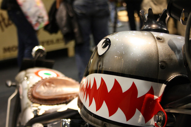 Toothy shark painted on motorcycle gas tank