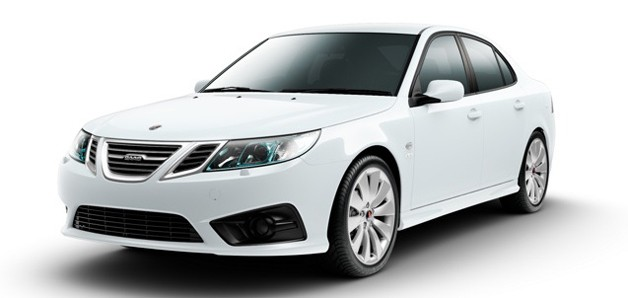 2012 Saab 9-3 Griffin sedan - white - front three-quarter view