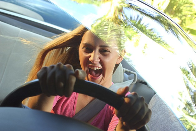 Teenage girl driving