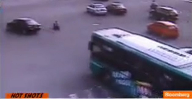 Three year old in traffic in China