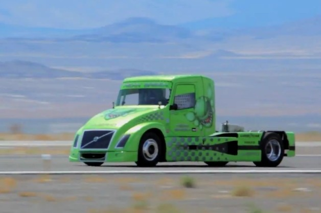 Volvo hybrid semi truck speed record