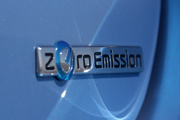 Zero Emission Badge on Nissan Leaf
