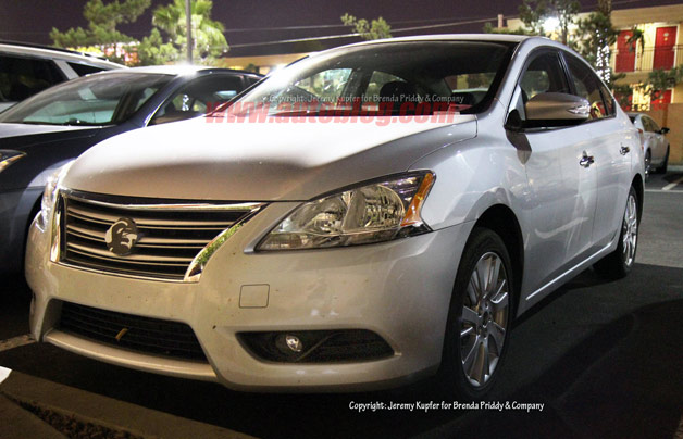 2013 Nissan Sentra sedan undisguised spy shot - front three-quarter view