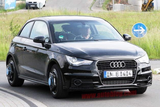 Possible Audi S1 prototype running around with wheel sensors - black