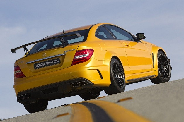 Mercedes-Benz C63 AMG Coupe Black Series - rear three-quarter view, yellow