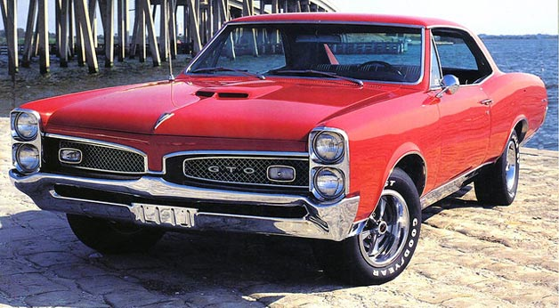 1967 Pontiac GTO  - red hardtop, front three-quarter view