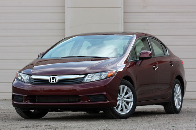 2012 Honda Civic sedan - front three-quarter view, maroon