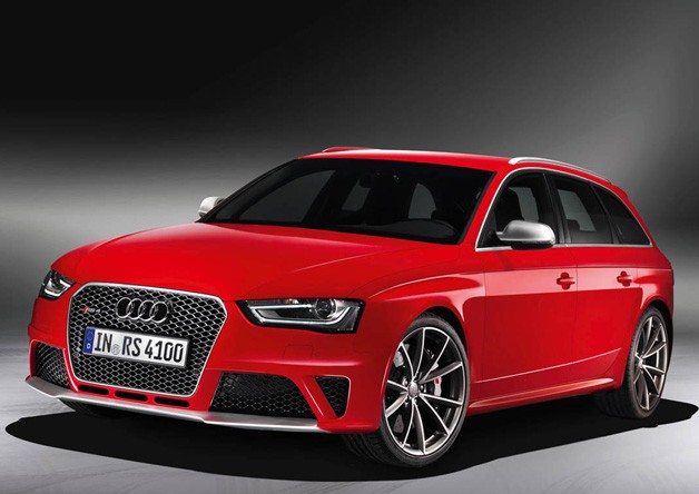 2013 Audi RS4 Avant - front three-quarter view, red