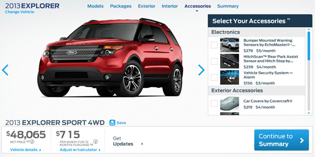 2013 explorer sport Ford configurator prices new 2013 Explorer Sport from $40,720*