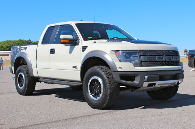 2013 Ford F150 SVT Raptor - Terrain beige - front three-quarter view