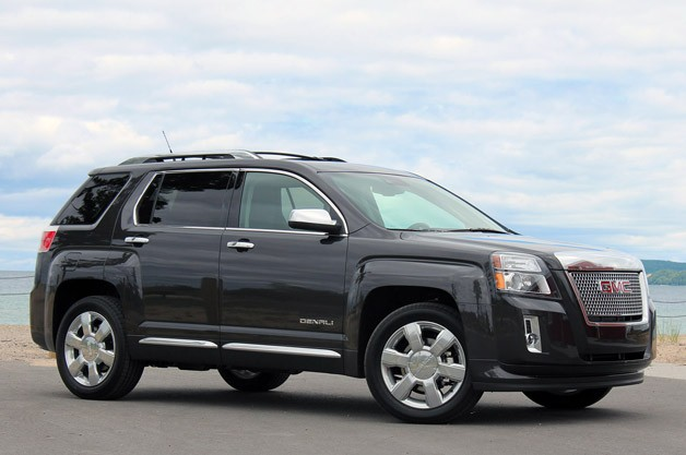 2013 GMC Terrain Denali - black - front three-quarter view