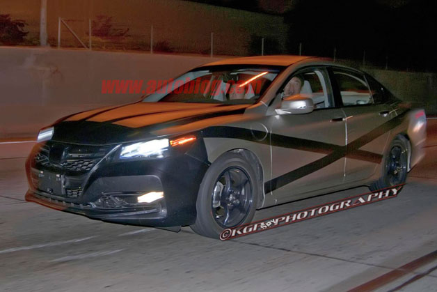 2013 Honda Accord Plug-In Hybrid - spy shot - night - front three-quarter view