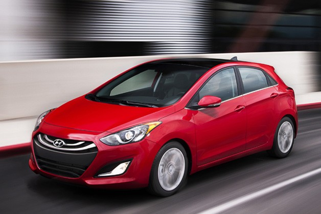 2013 Hyundai Elantra GT - red, dynamic front three-quarter view