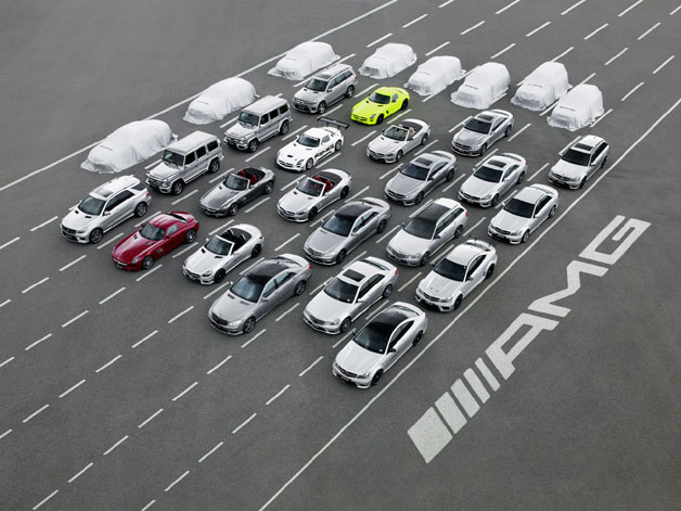 AMG vehicle family overhead shot for 45th anniversary