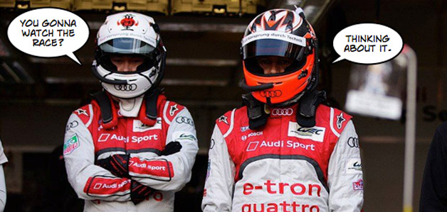 Audi Le Mans drivers with caption bubbles
