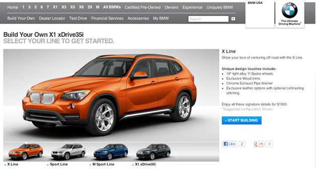 2013 BMW X1 configurator screencap