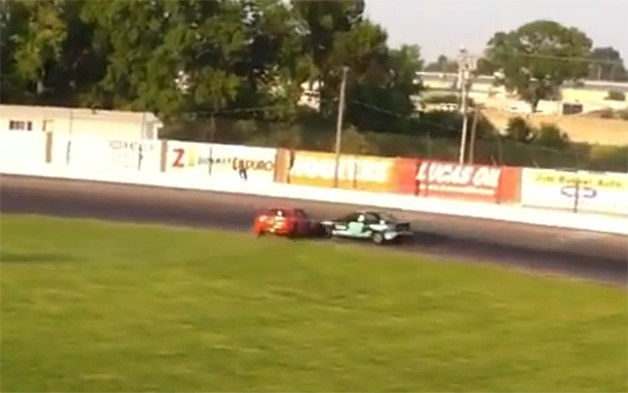 racer crosses infield to intentionally wreck, fight competitor