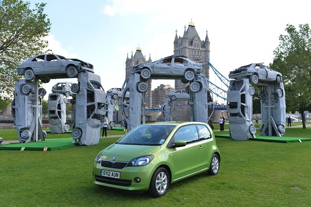Skoda recreates Stonehenge out of aged cars