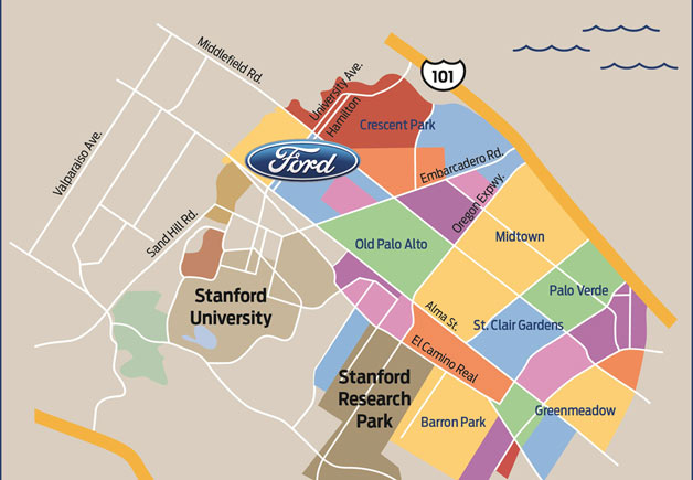 Ford in Silicon Valley (map of Palo Alto)
