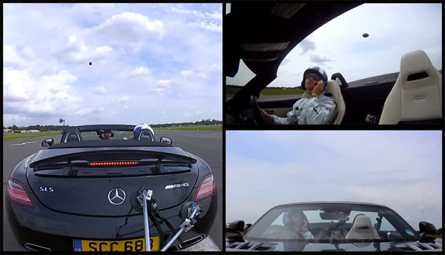 David Coulthard catches golf ball at 120 mph in Mercedes-Benz SLS AMG