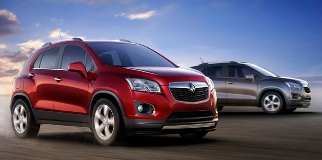 Holden Trax rendering - two models, one maroon, one silver - dynamic