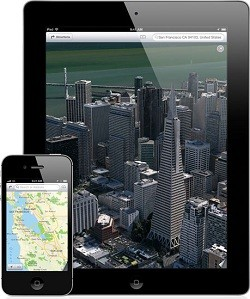 Apple Maps shown on iPad 2