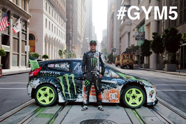 Ken Block with Ford Fiesta rallycross racer in San Francisco