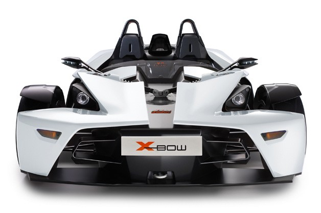 KTM X-Bow in white - dead-on view