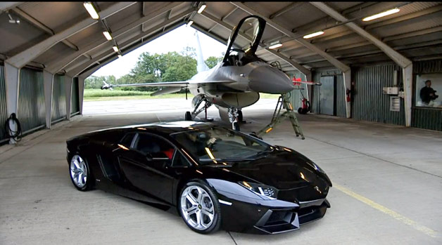 Lamborghini Aventador with F16 Fighting Falcon in hanger