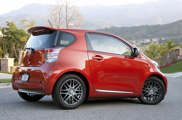 2012 Scion iQ rear 3/4 view