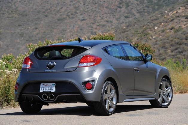 2013 Hyundai Veloster Turbo rear 3/4 view