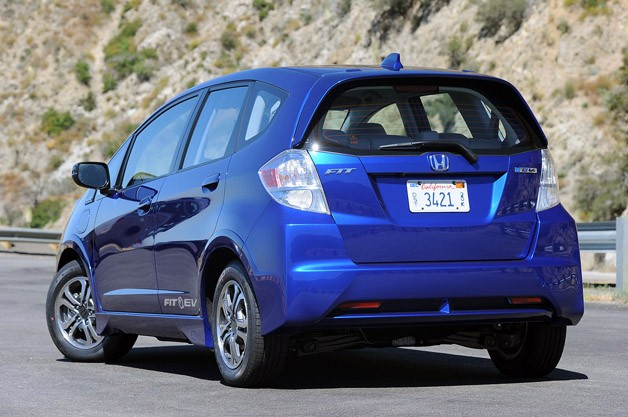 2013 Honda Fit EV rear 3/4 view