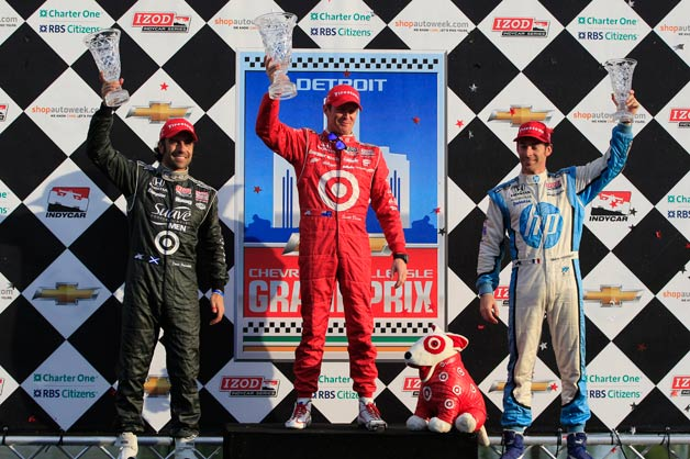 Winners podium at the 2012 Detroit Belle Isle Grand Prix