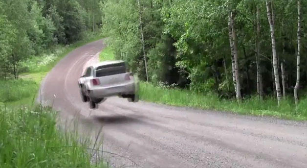 polorwrctest Volkswagen Polo R WRC takes to the air during tests