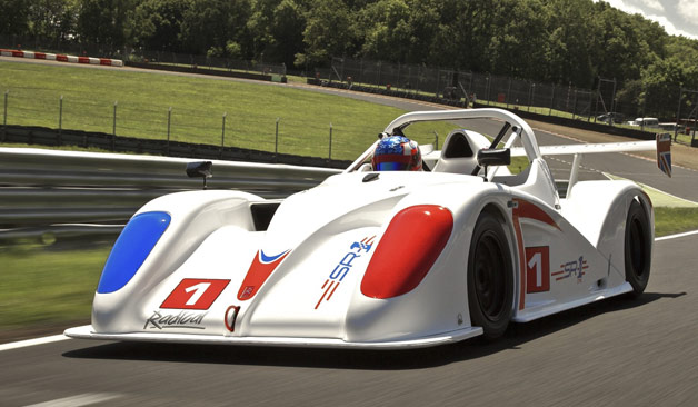 Radical SR1 on track at speed - white with red and blue livery