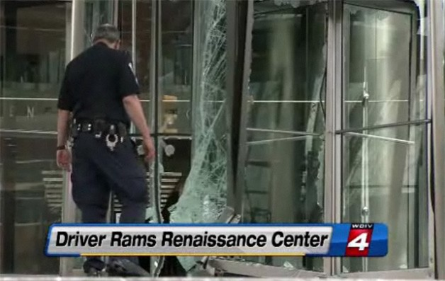 GM's Renaissance Center car crash -WDIV Detroit screencap