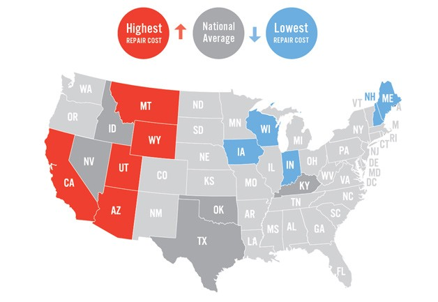 Infographic: Auto repair state-by-state costs