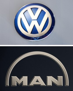 VW logo and MAN truck logo