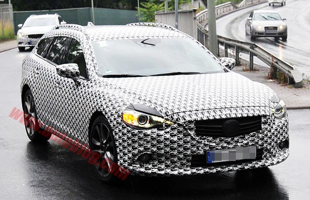 Mazda6 wagon spy shots - front three-quarter camouflage view