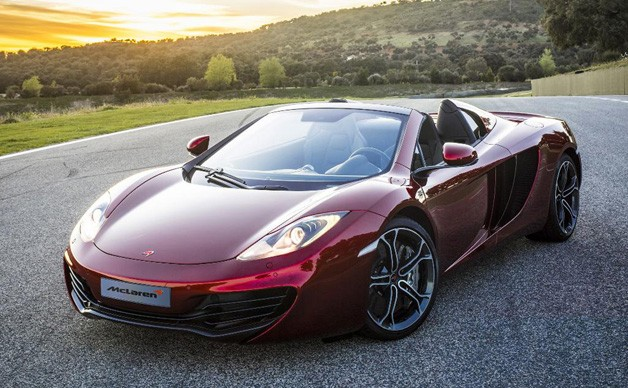 McLaren MP4-12C Spider - top down at sunset, front three-quarter view