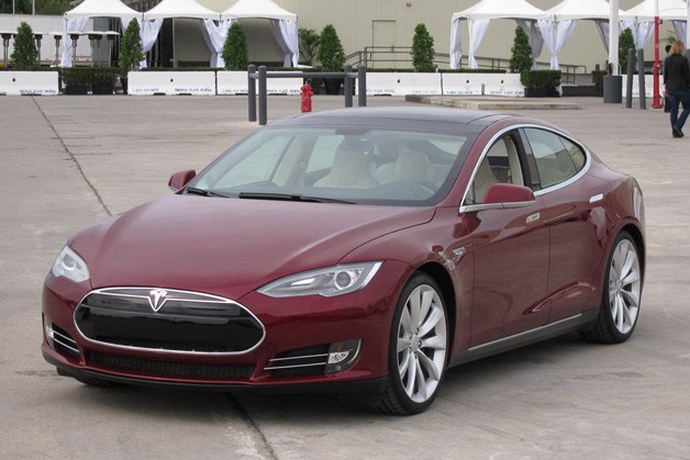 2013 Tesla Model S - maroon - front three-quarter view