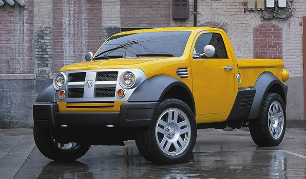 2002 Dodge M80 small pickup concept - yellow - front three-quarter