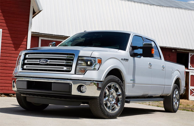 2013 Ford F-150 - silver - front three-quarter view