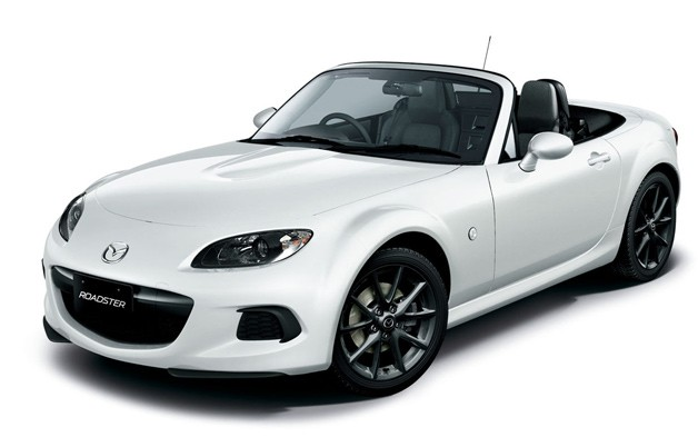 2013 Mazda Roadster - a.k.a. MX-5 Miata - white, front three-quarter view