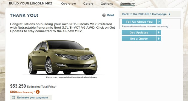 2013 Lincoln MKZ Configurator