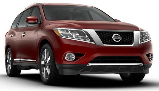 2013 Nissan Pathfinder - studio shot - maroon - front three-quarter view